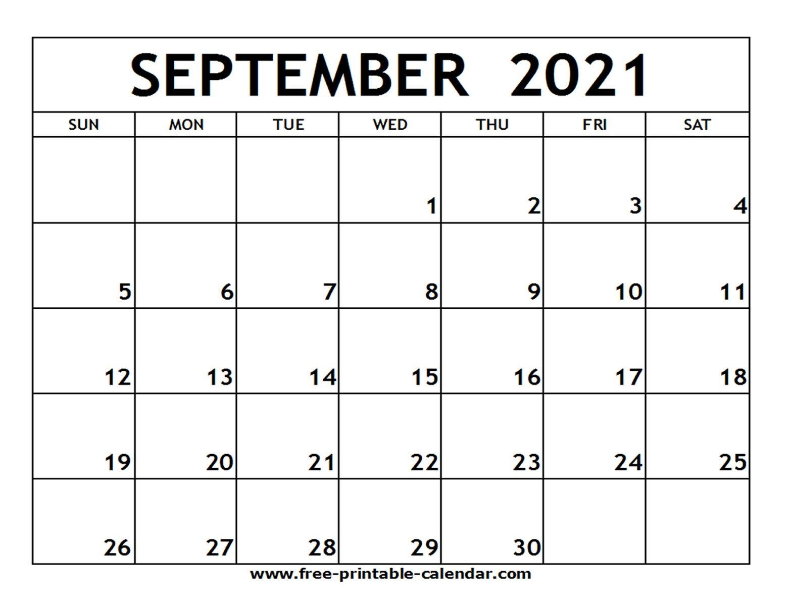 Sept 2021 Calendar Printable | Free Printable Calendar in 2021 Free Printable Weekly Calendar Blank