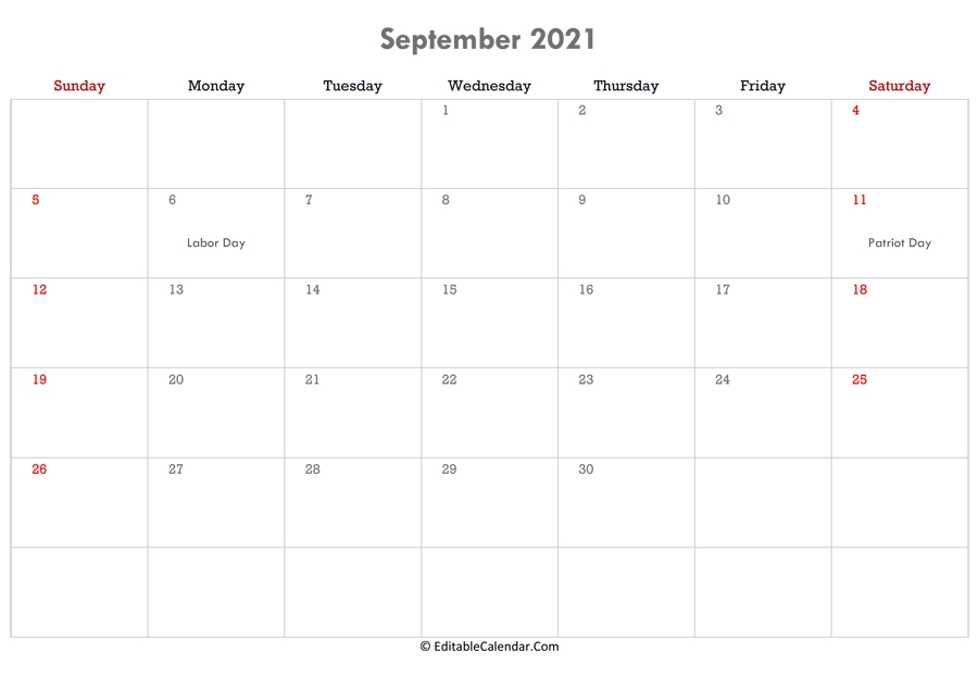 September 2021 Calendar Templates with regard to Excel September 2021 Monthly Planner Template