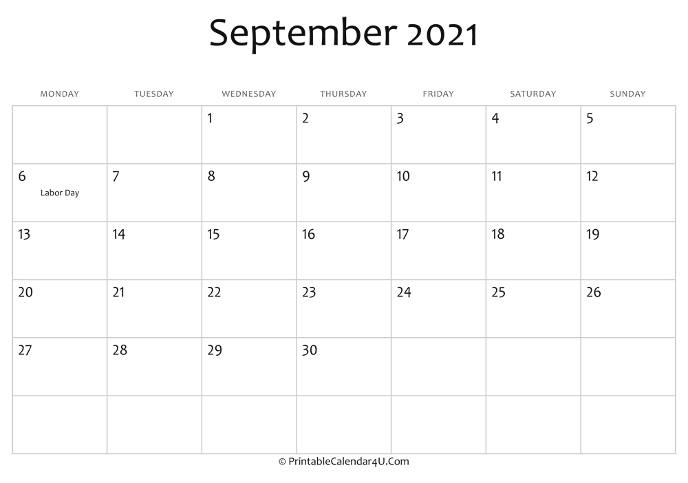 September 2021 Editable Calendar With Holidays within Excel September 2021 Monthly Planner Template