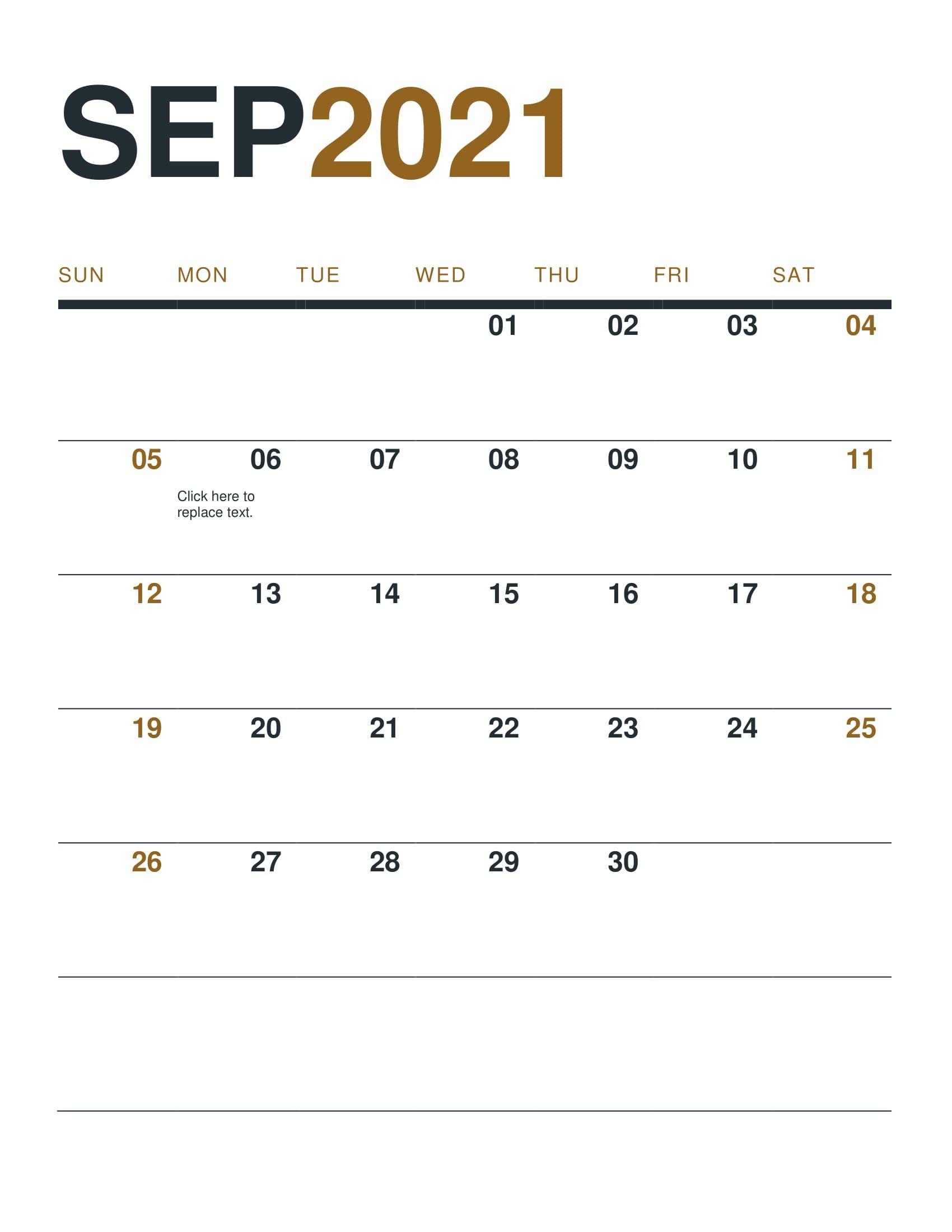 September Calendar 2021 - Printable Calendar Template 2020 2021 with regard to Free Printable Calendar 2021 Daily