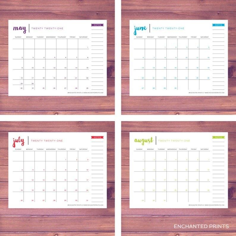 Simple 2021 Printable Calendar 12 Month Calendar Grid   Etsy with regard to 2021 Printable Monthly Calendar