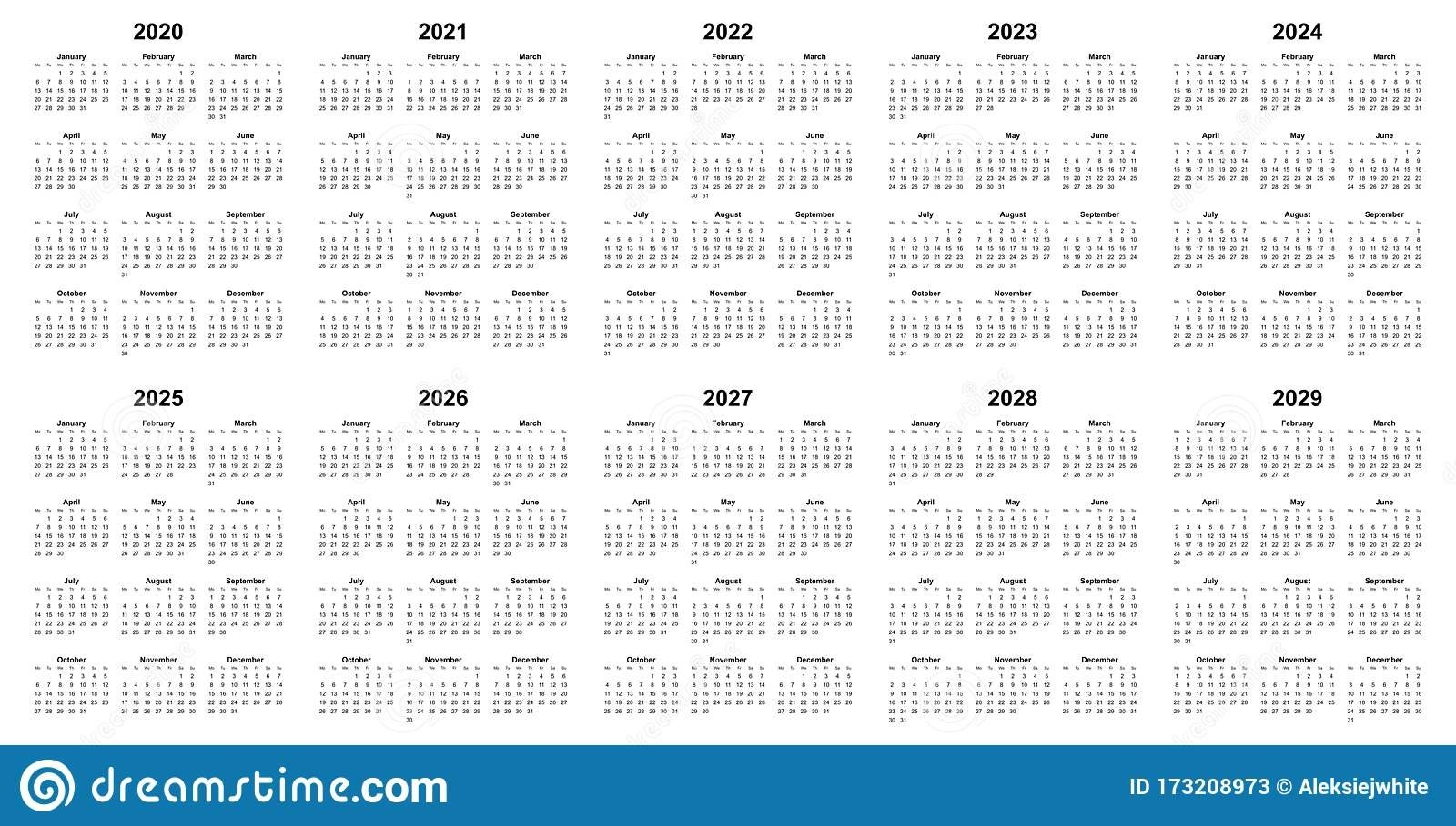 Simple Editable Vector Calendars For Year 2020 2021 2022 2023 2024 2025 2026 2027 2028 2029 regarding October Calendars For 2022 2023 2024 And 2025 Graphics