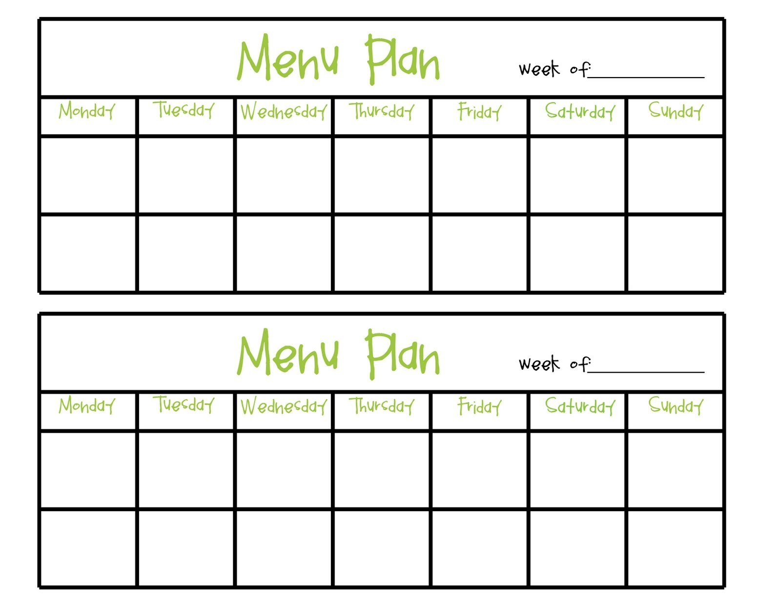 Simply Complicated: Menu Planning pertaining to Blank Meal Pages Two Week Dinner Graphics