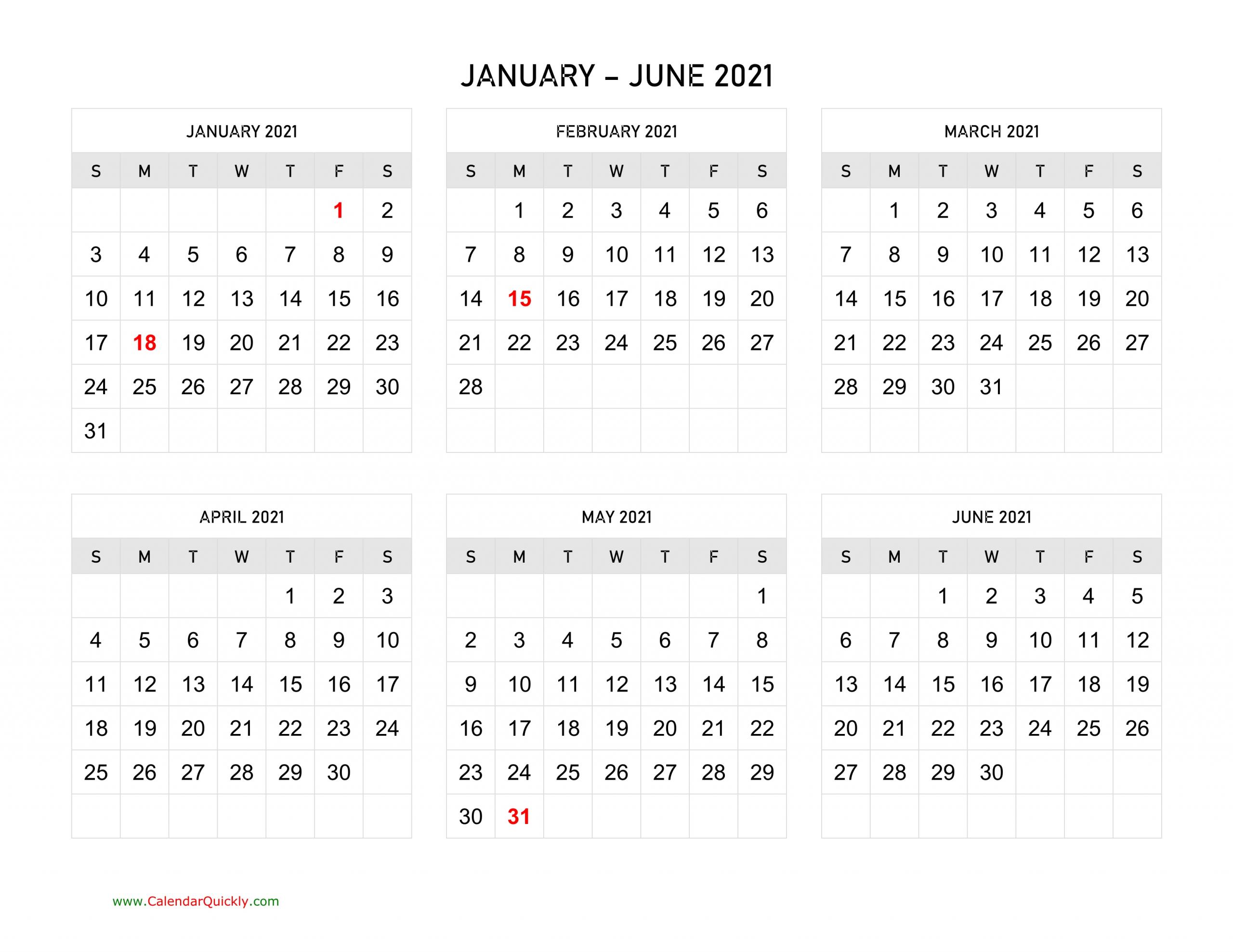 Six Months 2021 Calendar   Calendar Quickly pertaining to Half Page Calendars 20212