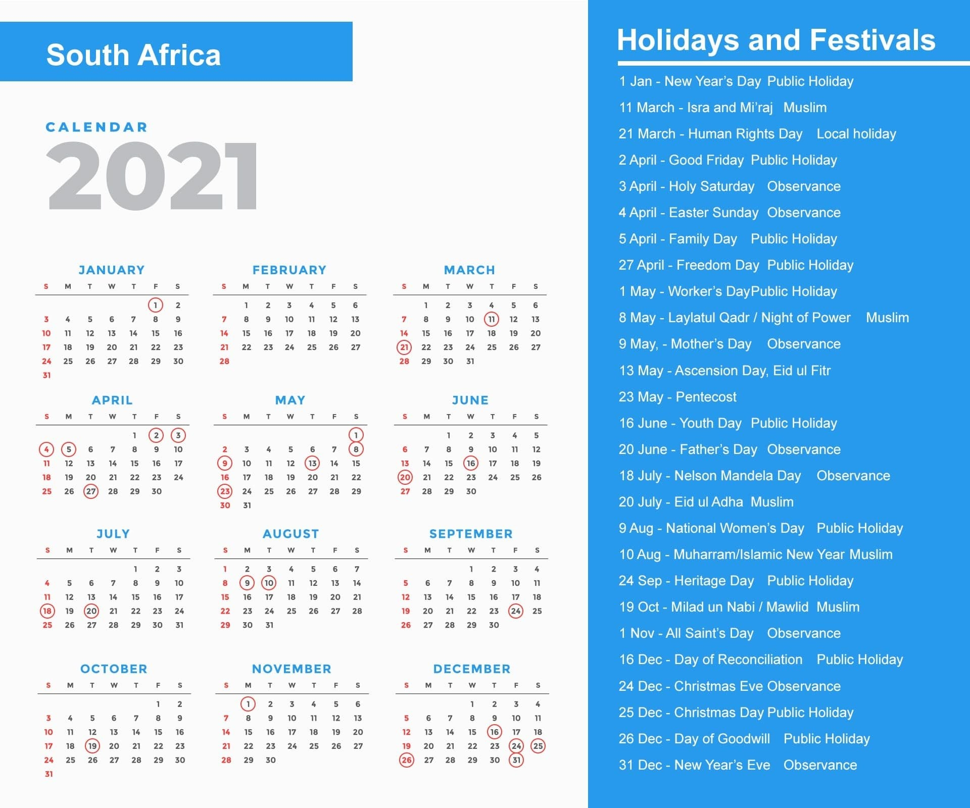 South Africa Holidays 2021 And Observances 2021 intended for South Australia Calendar 2021 Graphics