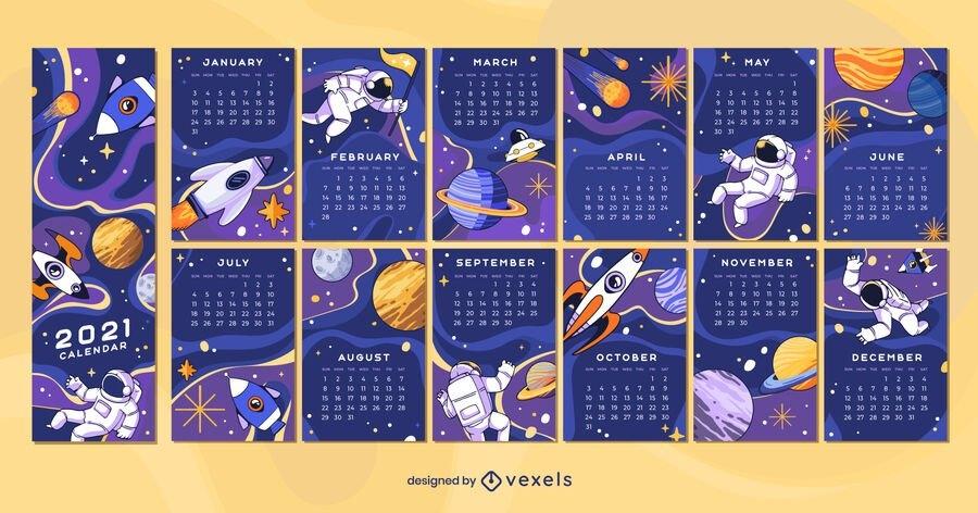 Space 2021 Calendar Design - Vector Download regarding Calendar 2021 Design In Illustrator Photo