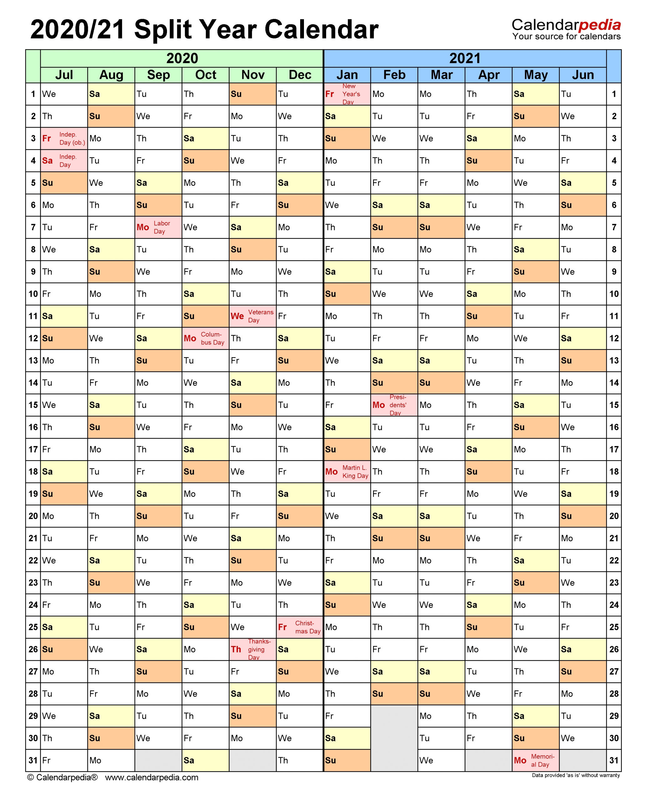 Split Year Calendars 2020/2021 (July To June) - Word Templates inside Half Page Calendars 20212