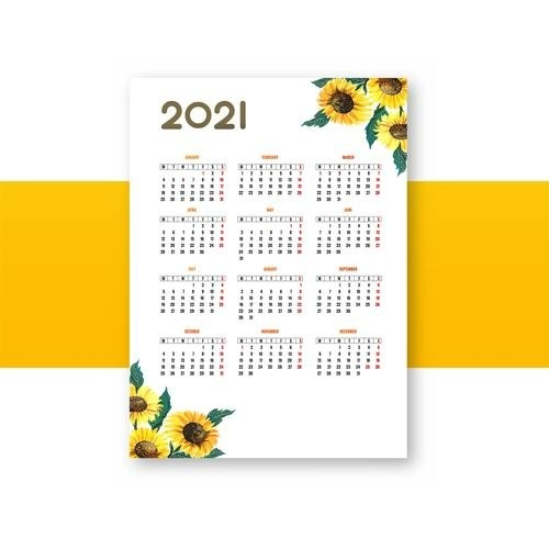 Sunflower Decoration 2021 Calendar Vector Free Download inside Template Piano Feire 2021