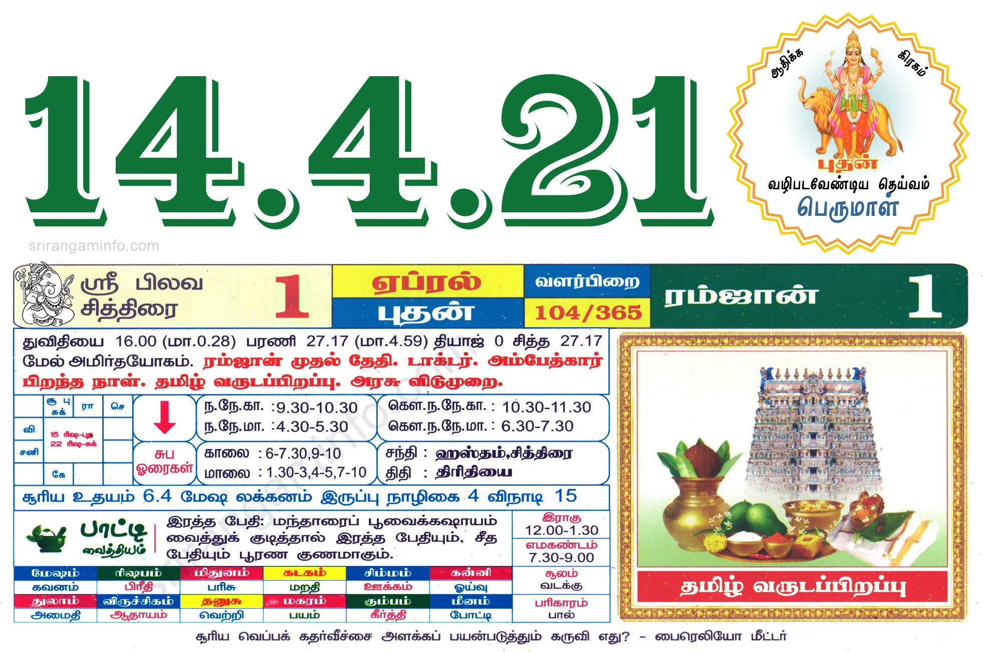 Tamil Daily Calendar 2021, Tamil Calendar 2021, Nalla Neram - தமிழ் தினசரி காலண்டர் in 2021 Tamil Calendar Holidays Image