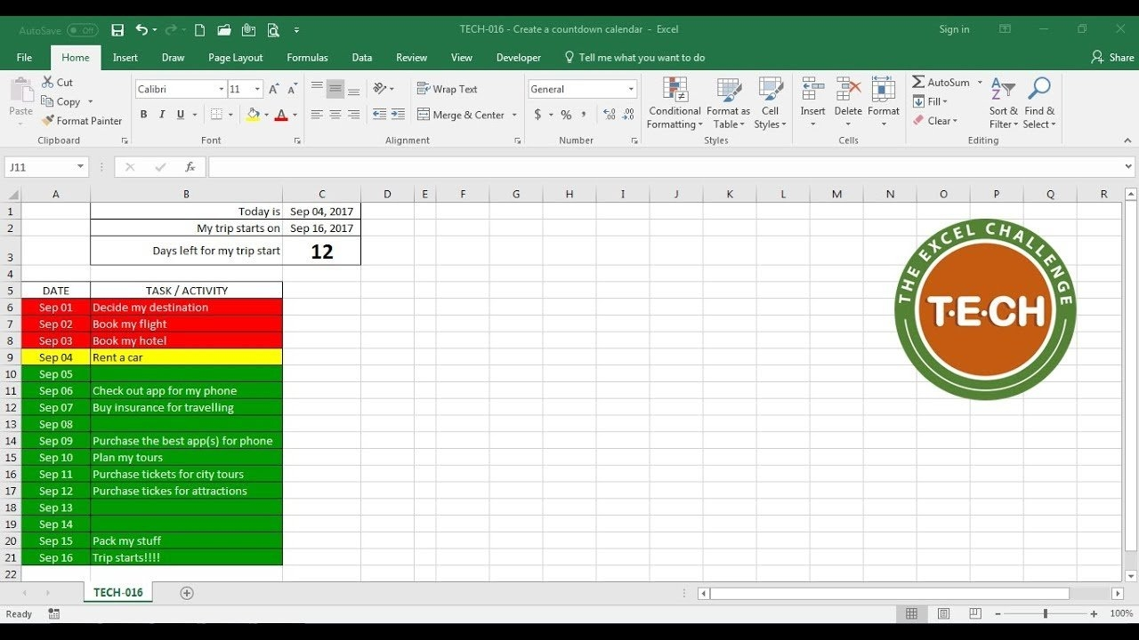 Tech-016 - Create A Countdown Calendar And Combine It With Conditional Formatting For Each Task regarding 6 Week Countdown Calendar