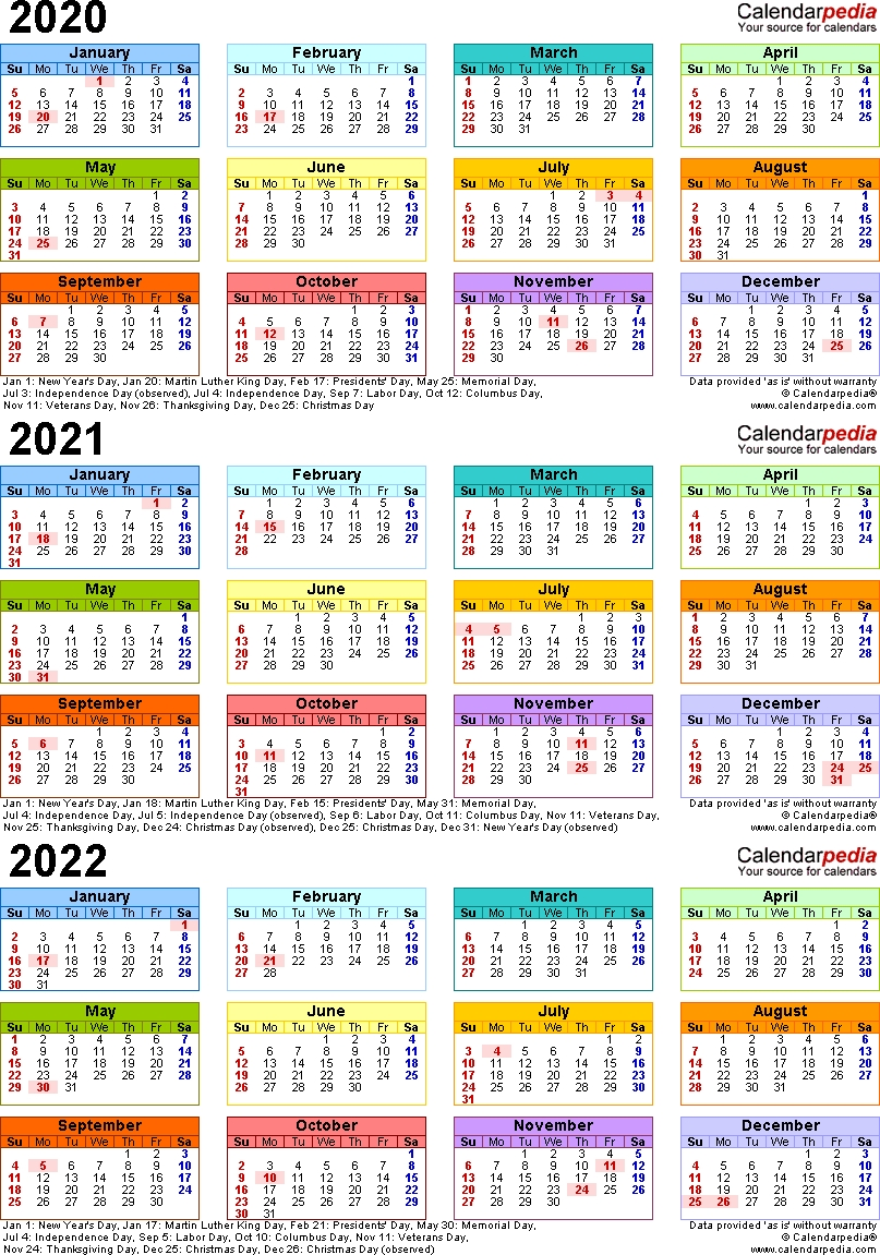 Template 3: Word Template For Three Year Calendar 2020-2022 (Portrait Orientation, 1 Page with regard to 2021 Broadcast Calendar Printable Photo