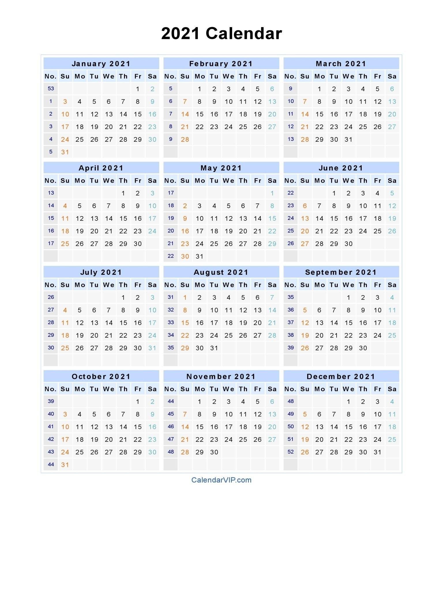 Template Excel 2021 Calendar With Week Numbers Printable   2021 Printable Calendars for Calendar For Year 2021 With Weeks Numbered