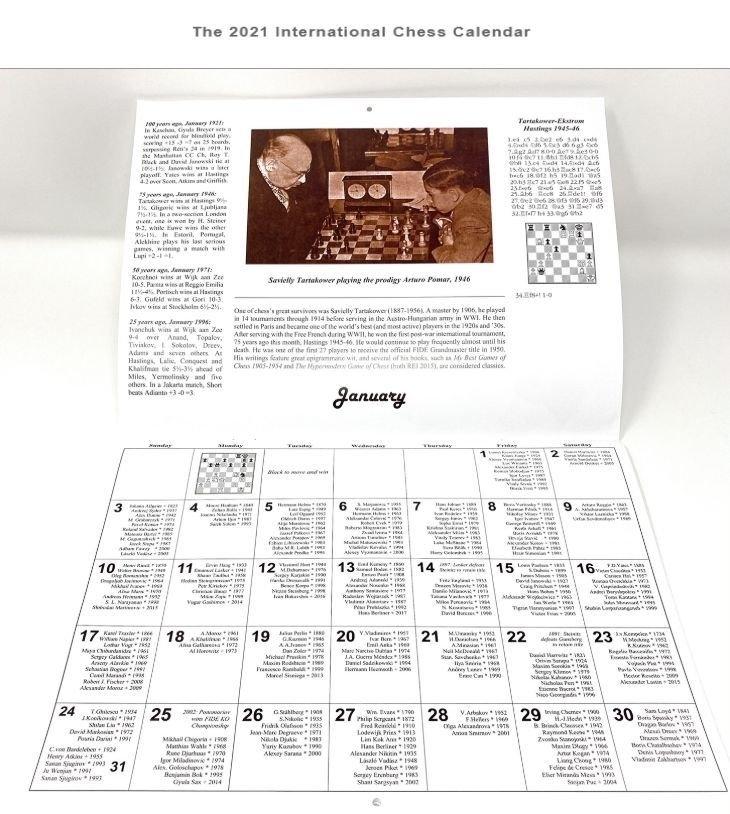 The 2021 International Chess Calendar | Schaakboeken Verzendhuis De Beste Zet with Which Calendar Year Match 2021 Graphics