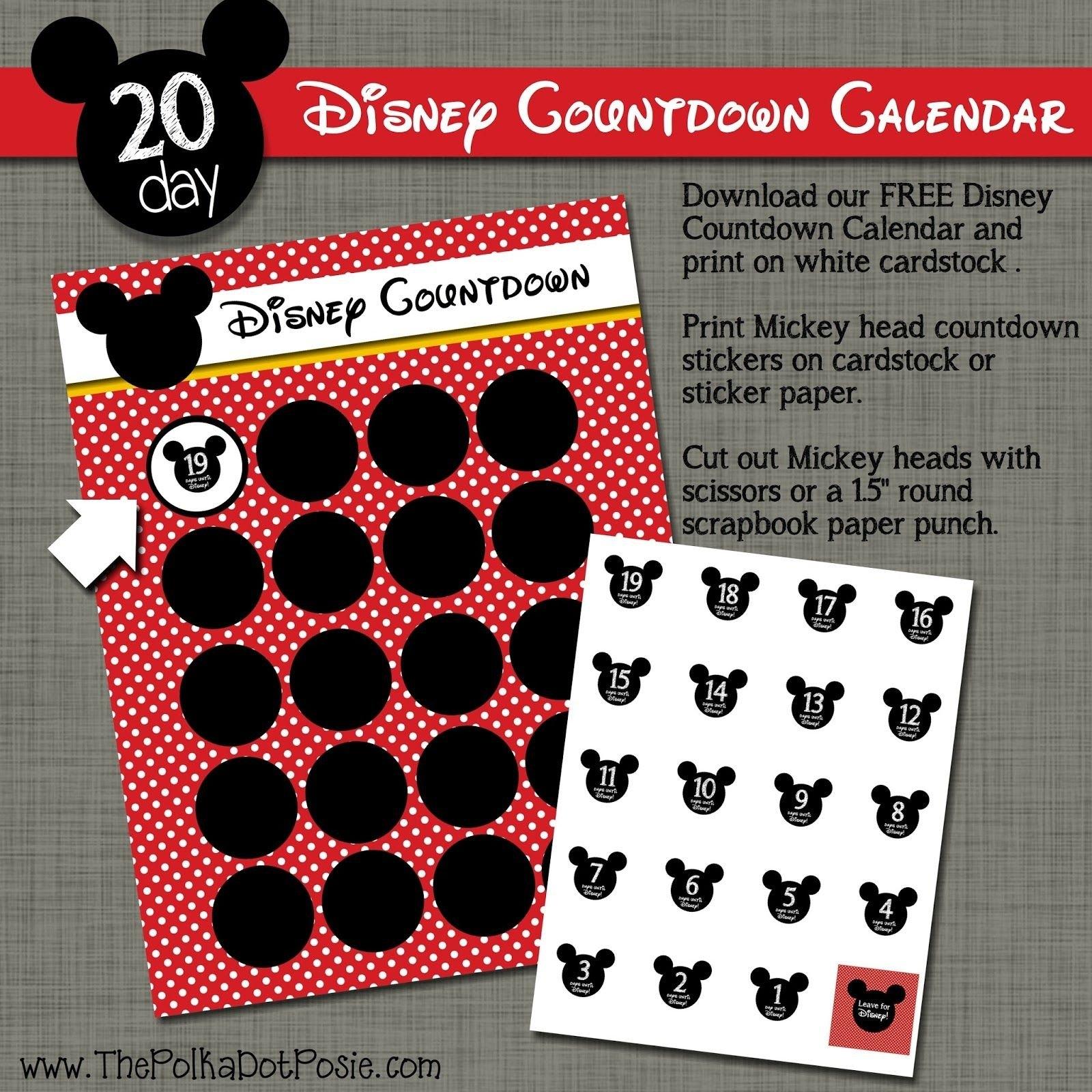 The Polka Dot Posie: Free Disney Countdown Sticker Calendar | Disney Countdown throughout 180 Day Countdown Calendar Graphics