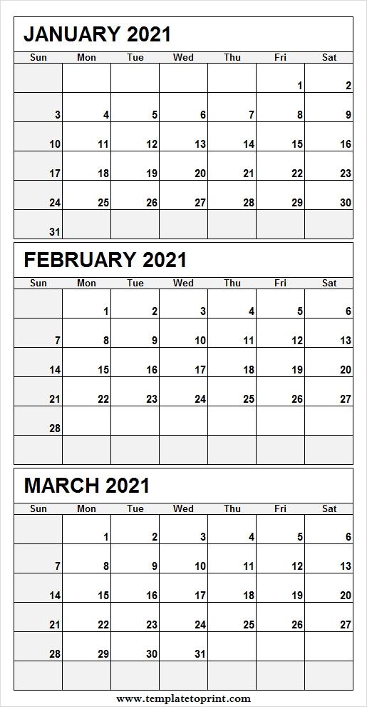 Three Month Jan To Mar 2021 Calendar - Jan 2021 Calendar Template pertaining to Calendar Templates 3 Months Per Page 2021 Graphics
