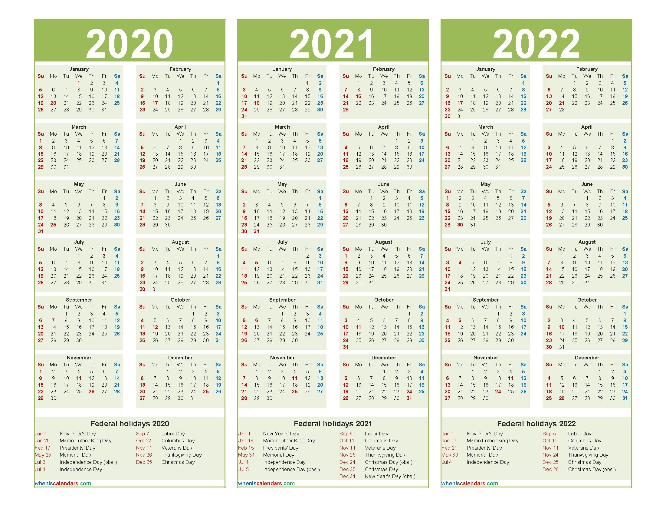 Three Year 2020 To 2022 Calendar Printable Word, Pdf for 3 Year Calendar 2021 2021 2022 Graphics