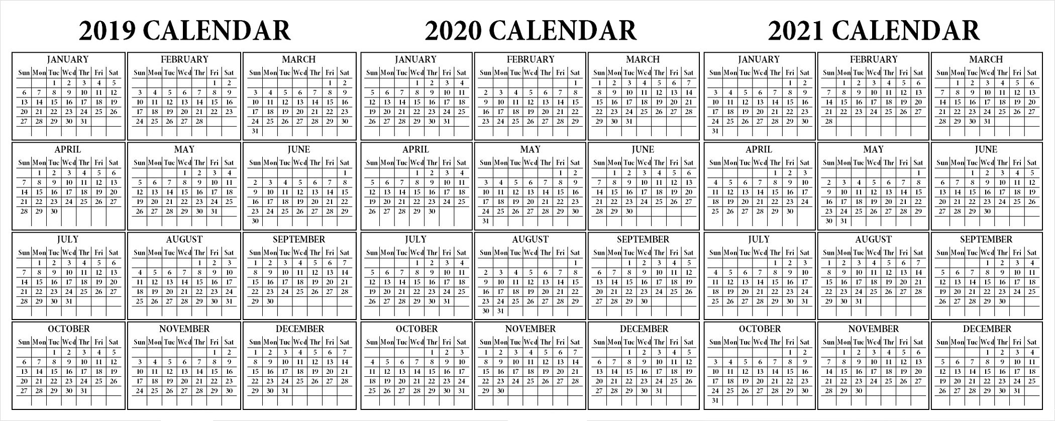 Three-Year Calendar 2019 2020 2021 - Calendar Inspiration Design throughout Three Year Calendar 2019 2021 2021 Calendar Pedia Image