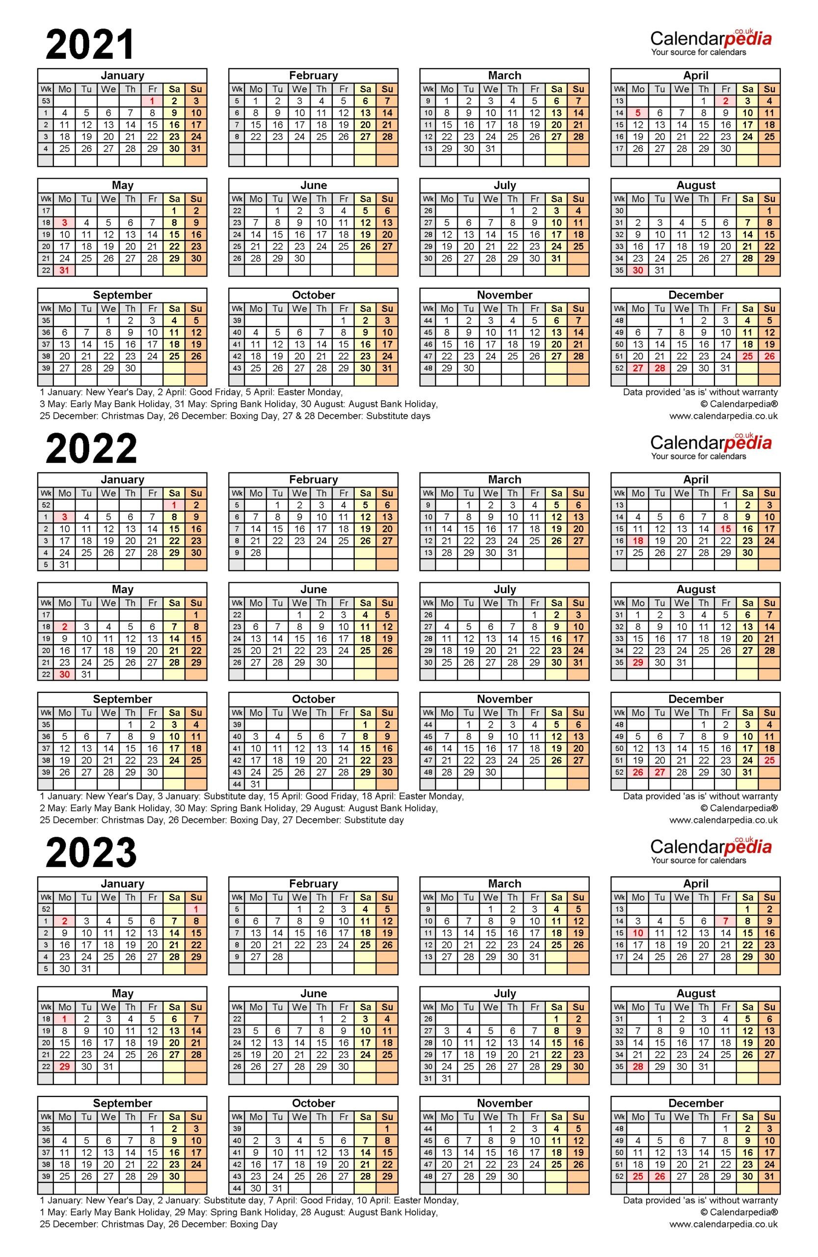 Three Year Printable Calendar 2021 To 2023 | Calendar Printables Free Blank regarding Calender 2021 To 2025 Photo