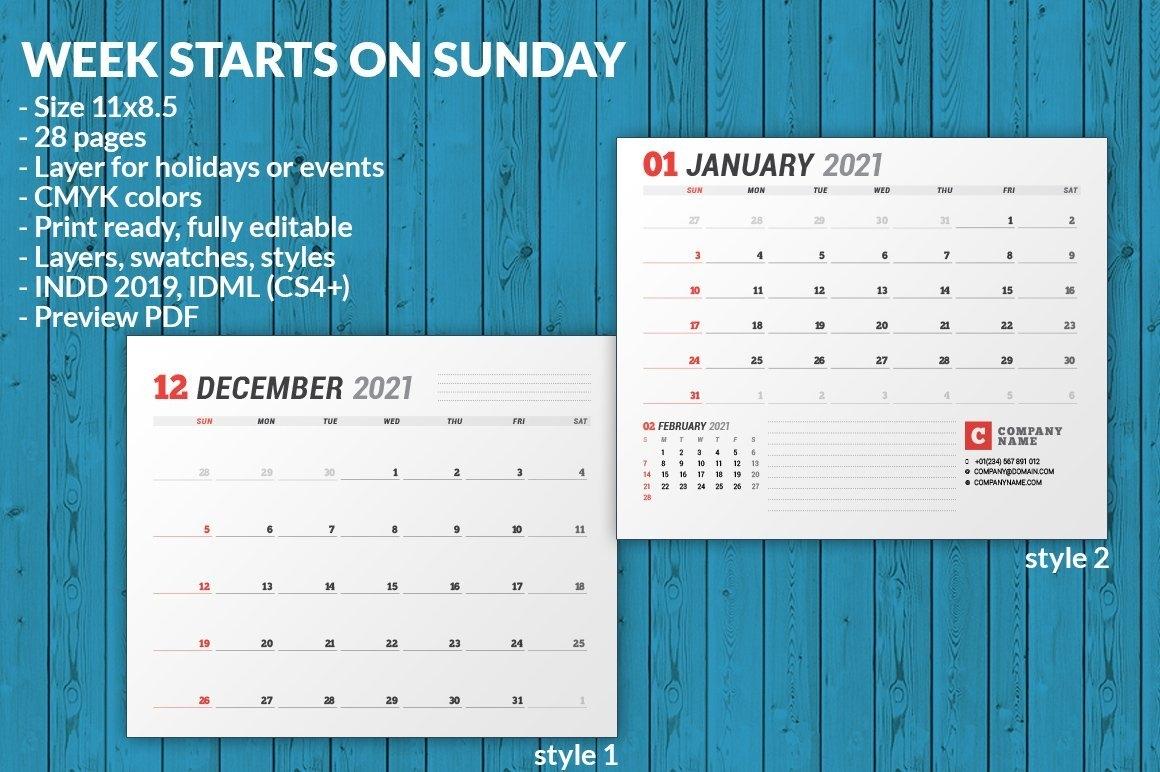 Wall Calendar 2021 (701970)   Brochures   Design Bundles throughout Indesign Calendar Template 2021