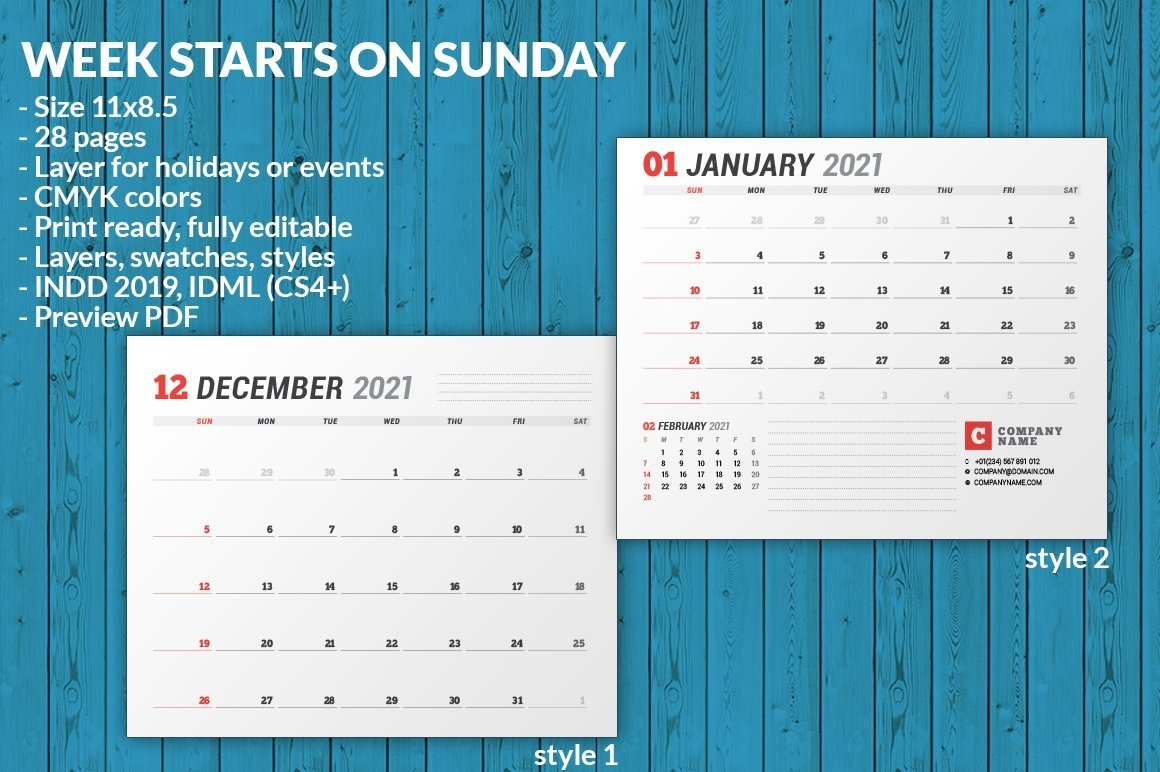 Wall Calendar 2021 (701970) | Brochures | Design Bundles throughout Indesign Calendar Templates 2021 Graphics