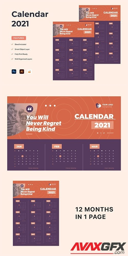 Wall Calendar 2021 » Avaxgfx - All Downloads That You Need In One Place! Graphic From Nitroflare in Create A 2021 Calendar In Indesign Image