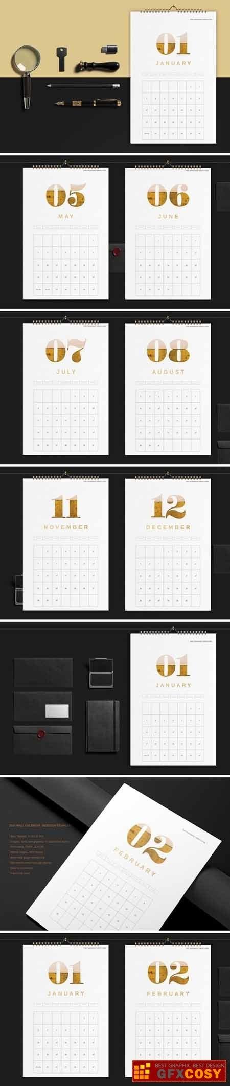 Wall Calendar 2021 Template369 » Free Download Photoshop Vector Stock Image Via Zippyshare pertaining to Indesign Calendar Template 2021 Graphics