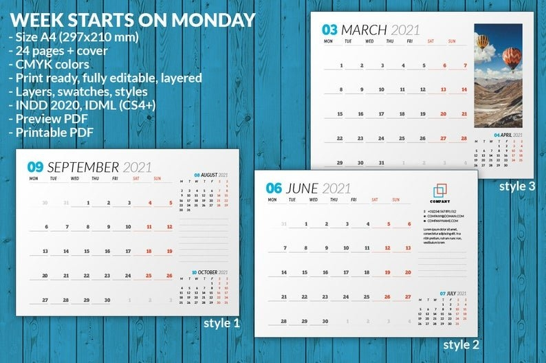 Wall Calendar 2021 Wc031-21 | Etsy in Indesign Calendar Templates 2021 Graphics