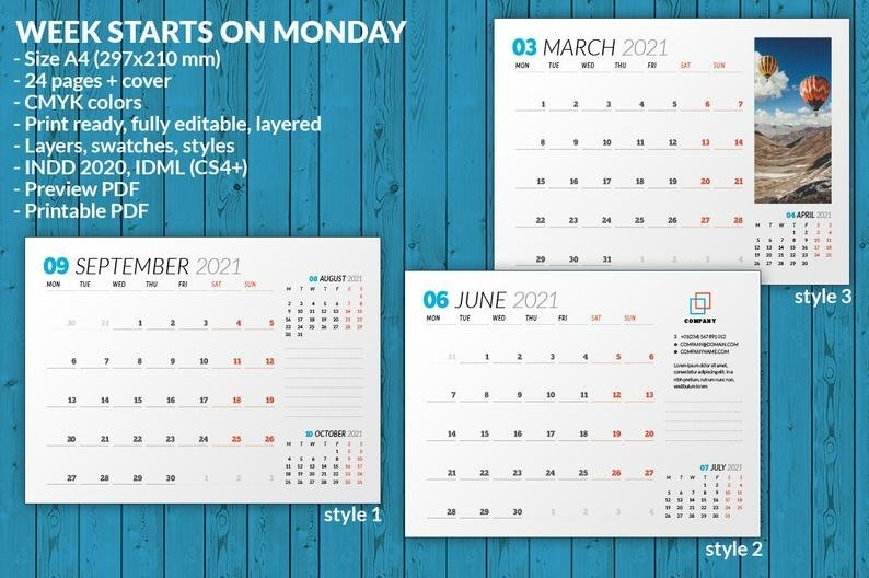 Wall Calendar 2021 Wc031-21 | Etsy with regard to 2021 Indesign Calendar Template Graphics
