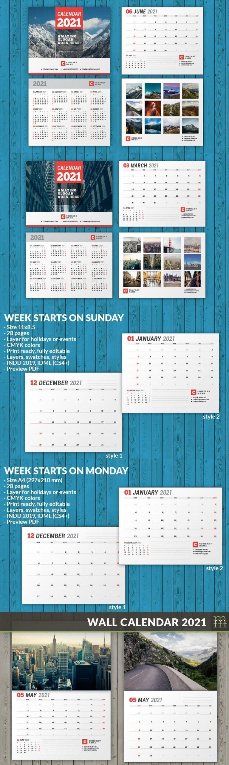 Wall Calendar 2021 (Wc037-21) In 2020   Wall Calendar, Calendar Template, Calendar 2020 intended for 2021 Indesign Calendar Template Graphics