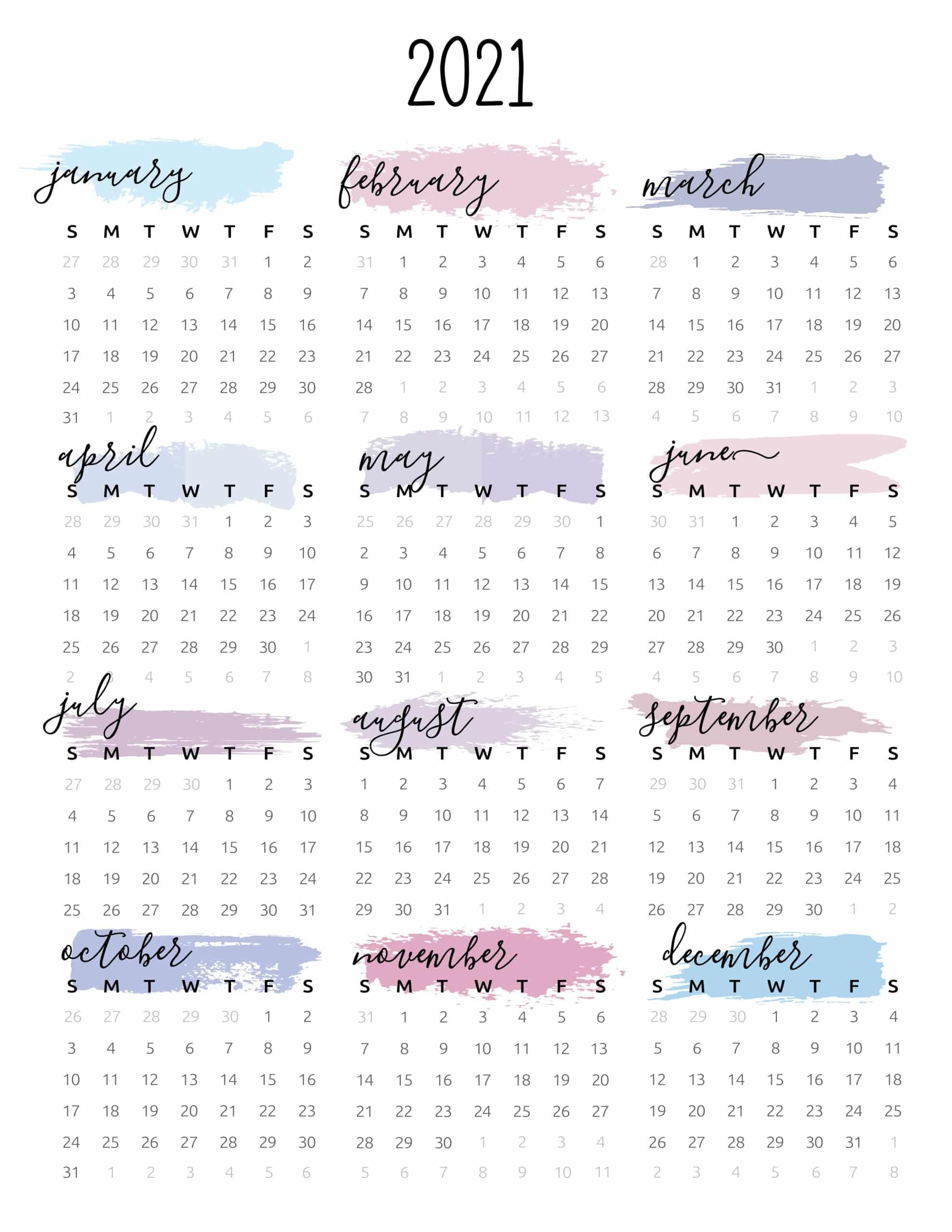 Watercolor One Page 2021 Calendar - World Of Printables inside One Page2021 Calendar Printable Images