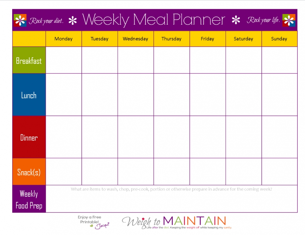 Weekly Food Chart Template Meal Schedule Template Planner Templat Throughout Menu Chart Template in Blank Meal Pages Two Week Dinner