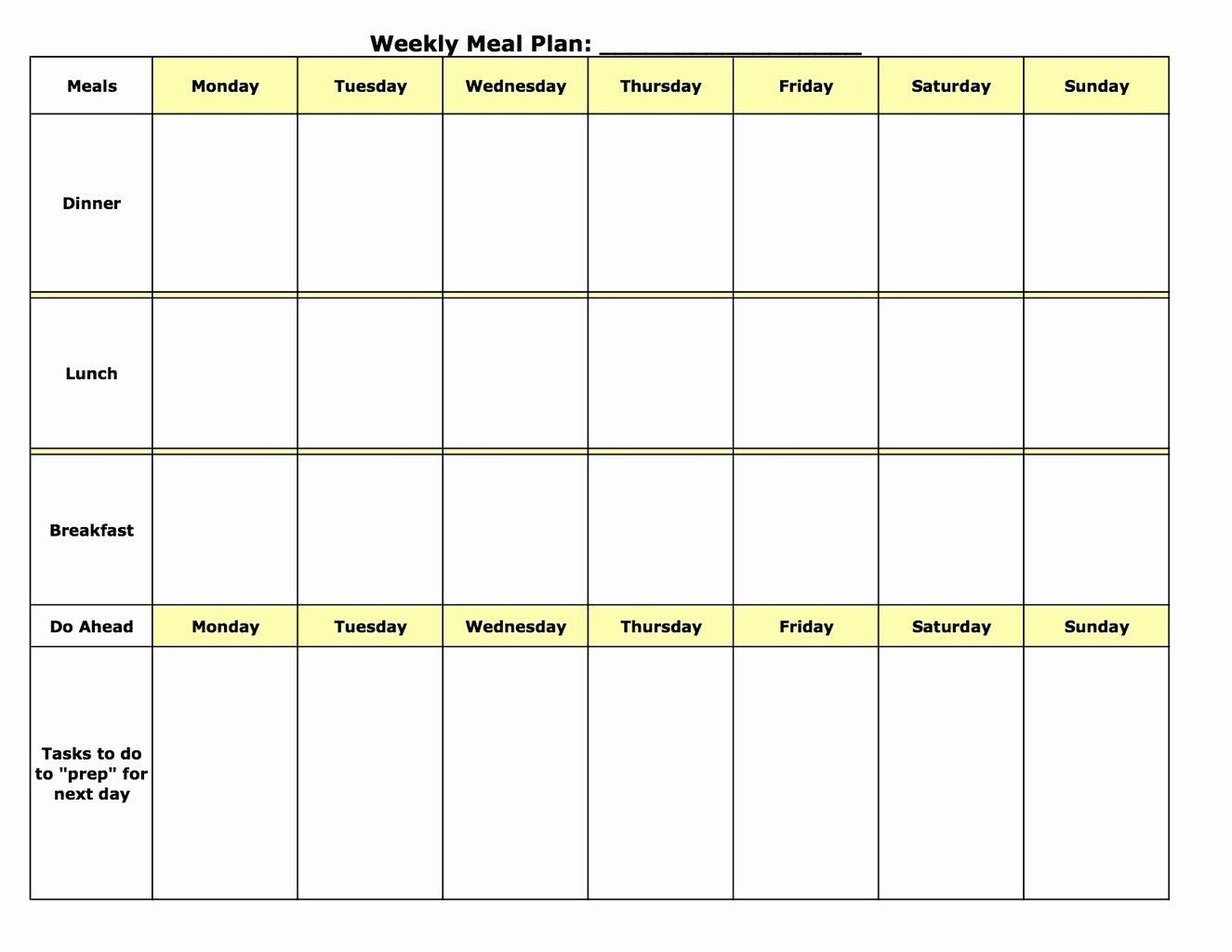 Weekly Meal Planner Template Word Inspirational Meal Planning Template (With Images)   Weekly in Blank Meal Pages Two Week Dinner Graphics