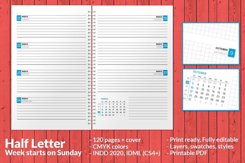 Weekly Planner 2021 Indesign Template Half Letter Size Week | Etsy with 2021 Indesign Calendar Template