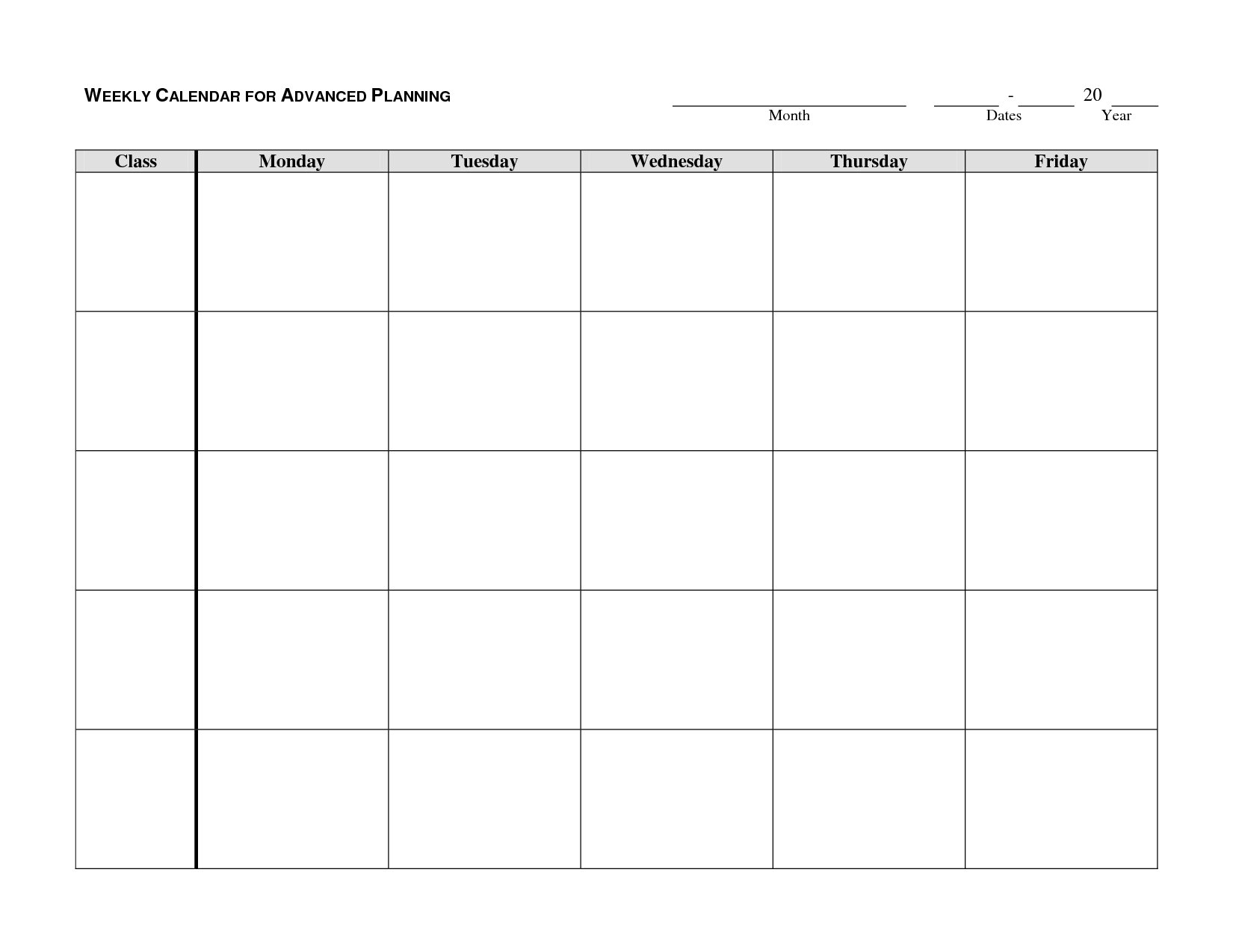 Weekly Planner Template Monday Thru Friday :-Free Calendar Template with Printable Calendar Weekly Mon - Fri Graphics