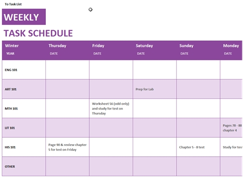 Weekly Task Schedule in 11X17 Activity Calendar Layot Graphics
