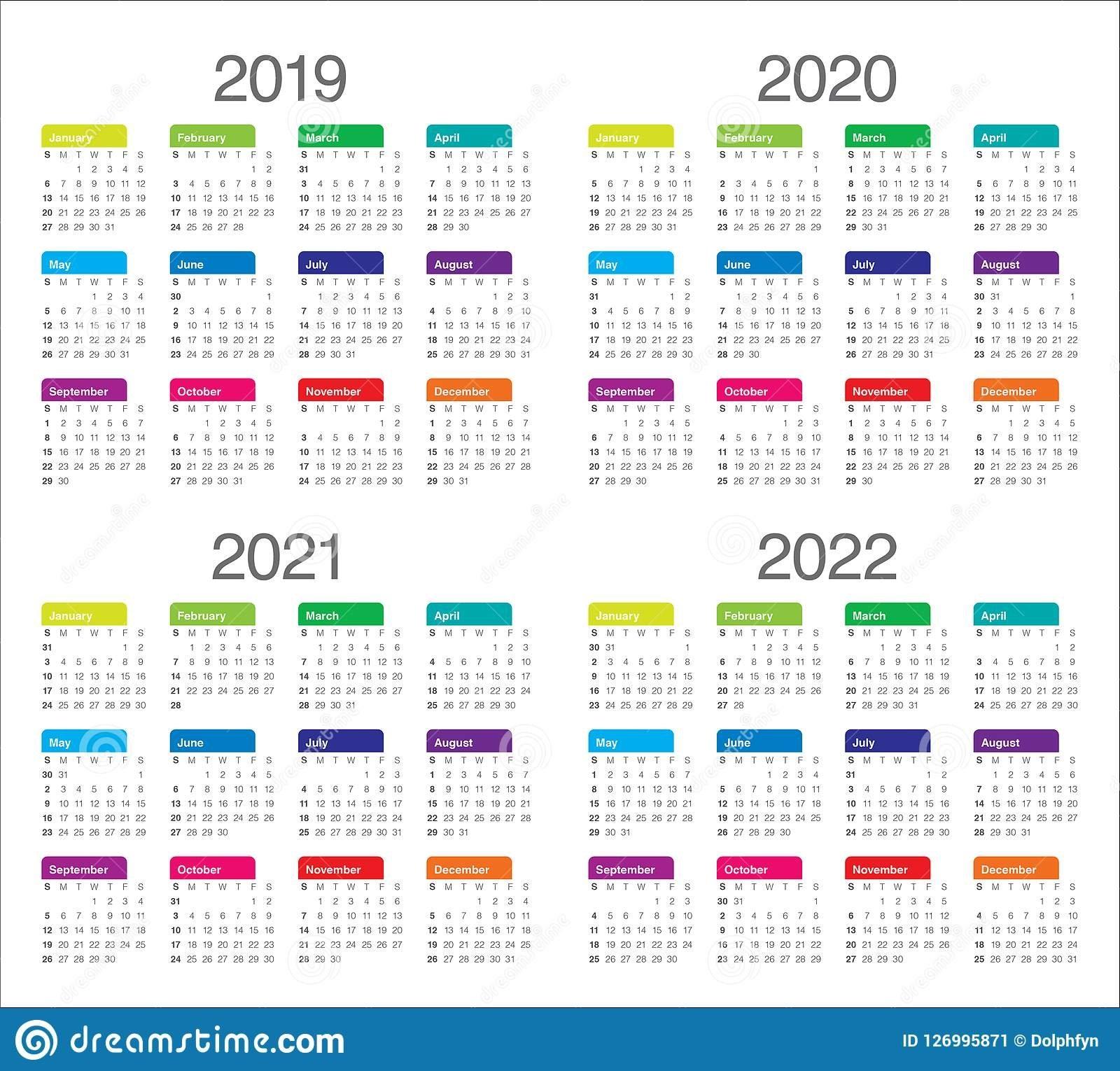 Year 2019 2020 2021 2022 Calendar Vector Design Template Stock Vector - Illustration Of 2019 inside Ucsb 2019 2021 Calendar Photo