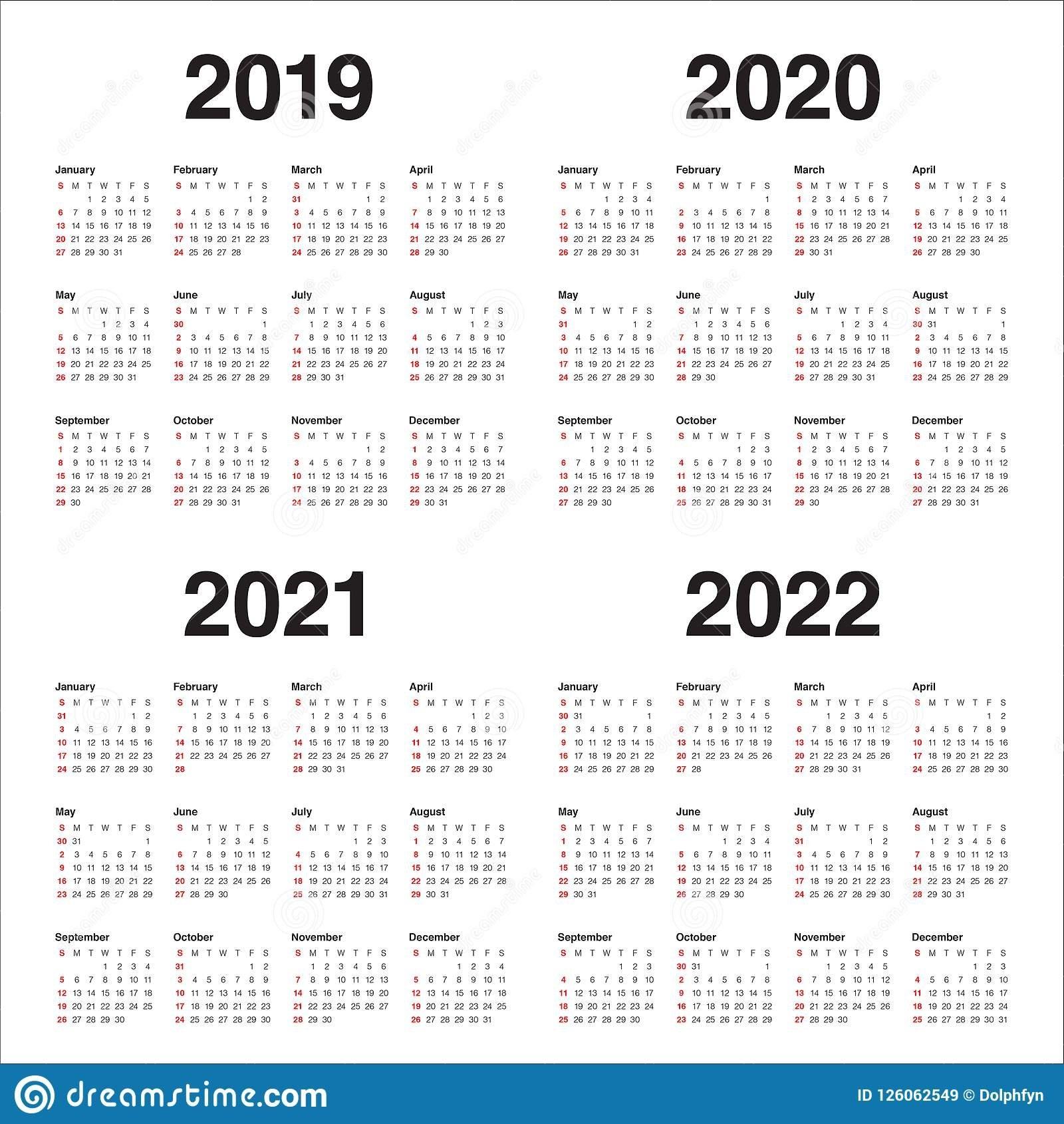 Year 2019 2020 2021 2022 Calendar Vector Design Template Stock Vector - Illustration Of Simple inside 3 Year Calendar 2021 2021 2022