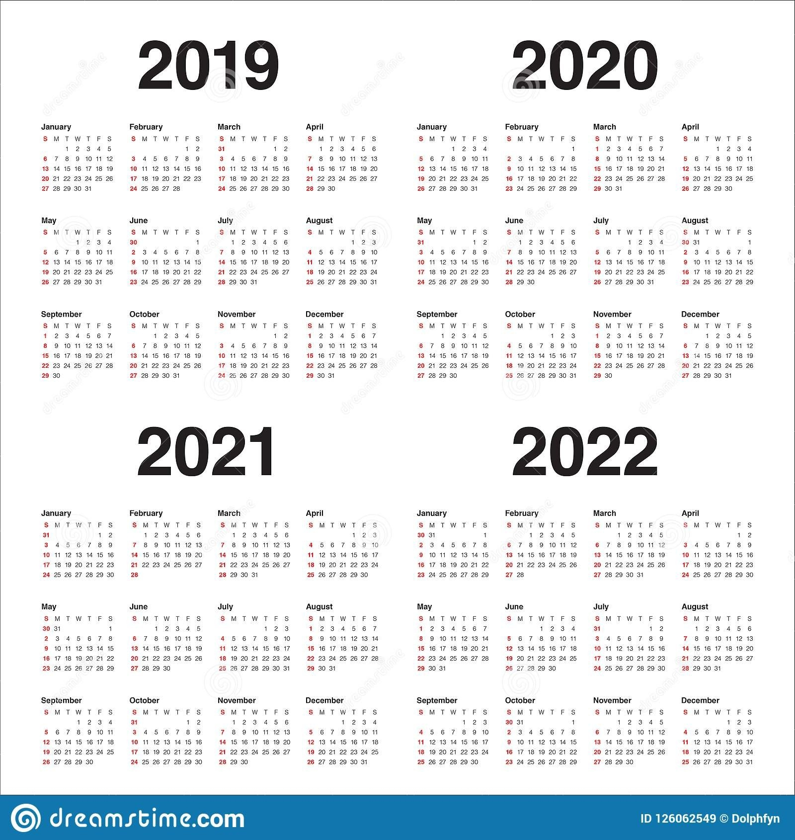 Year 2019 2020 2021 2022 Calendar Vector Design Template Stock Vector - Illustration Of Simple within Ucsb 2019 2021 Calendar Photo