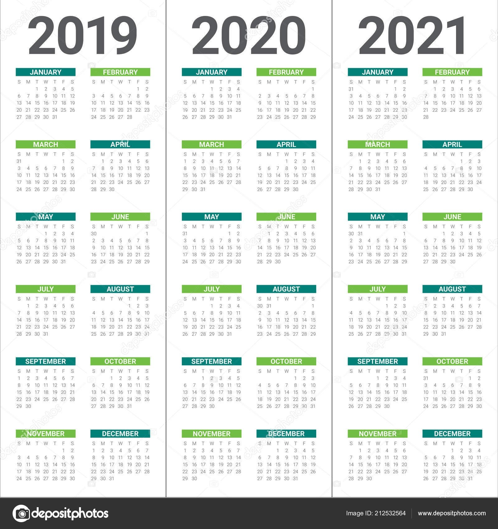 Year 2019 2020 2021 Calendar Vector Design Template Simple Clean — Stock Vector © Dolphfynlow with regard to Three Year Calendar 2019 2021 2021 Calendar Pedia