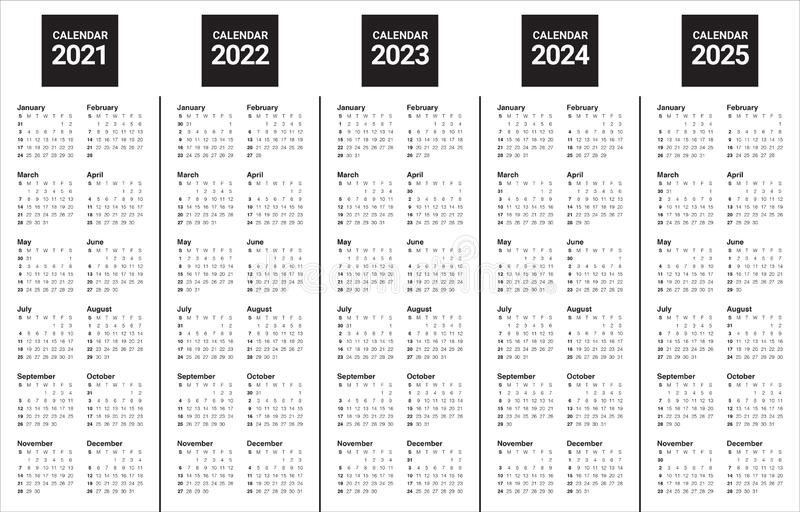 Year 2021 2022 2023 2024 2025 Calendar Vector Design Template Stock Vector - Illustration Of intended for Yearly Calendars 2021 To 2025