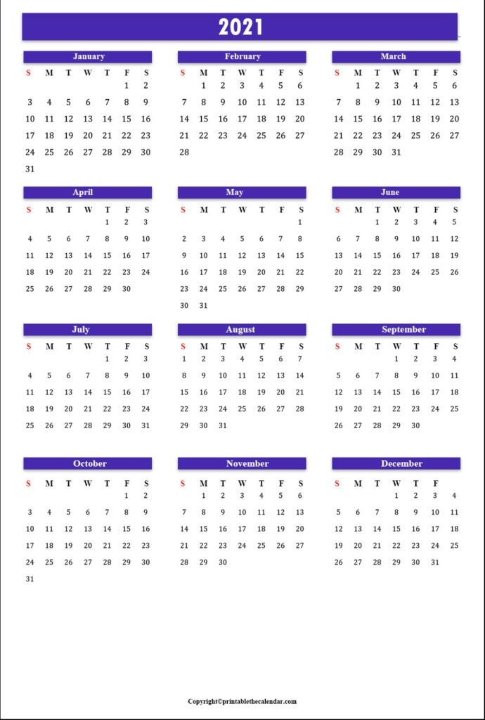 Yearly Calendar 2021 [Free Printable Template] | Printable The Calendar pertaining to Free 2021 Calendar Excel