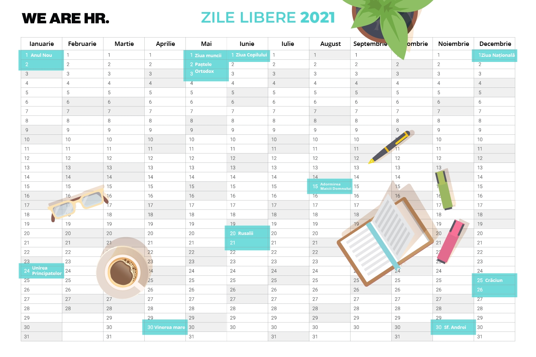 Zile Libere 2021: Când Se Fac Punți Pentru Minivacanțe? - We Are Hr regarding Calendar Cu Zile Libere Legale Pentru 2021 Image