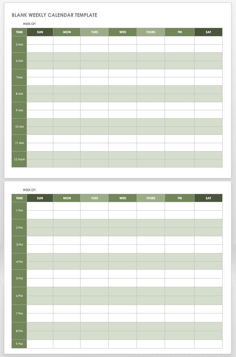 15 Free Weekly Calendar Templates | Smartsheet inside Free Weekly Planner Template Photo