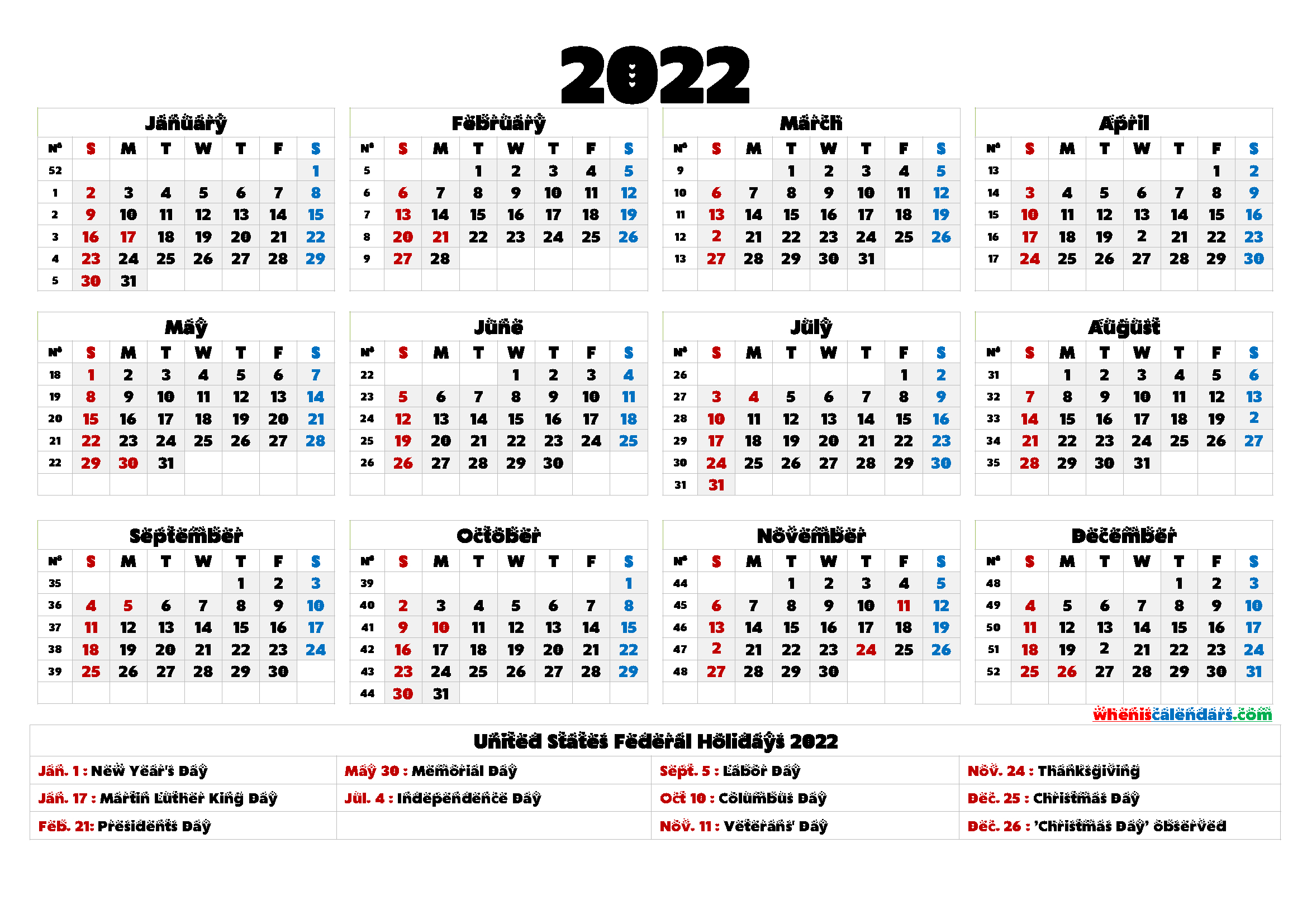 20+ 2022 Calendar With Holidays Printable - Free Download for Free Printable 2022 Planner With Holidays