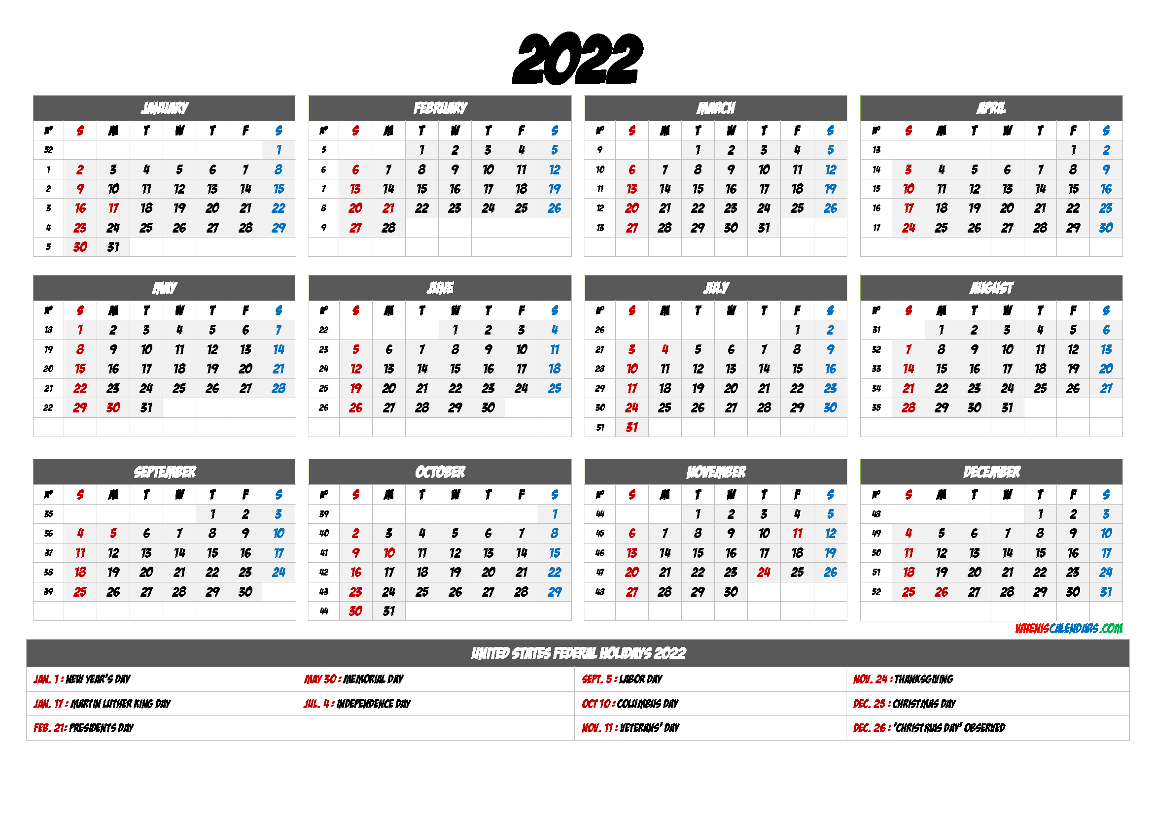 20+ 2022 Calendar With Holidays Printable - Free Download with January 2022 Free Month At A Glance Planner.pdf Photo