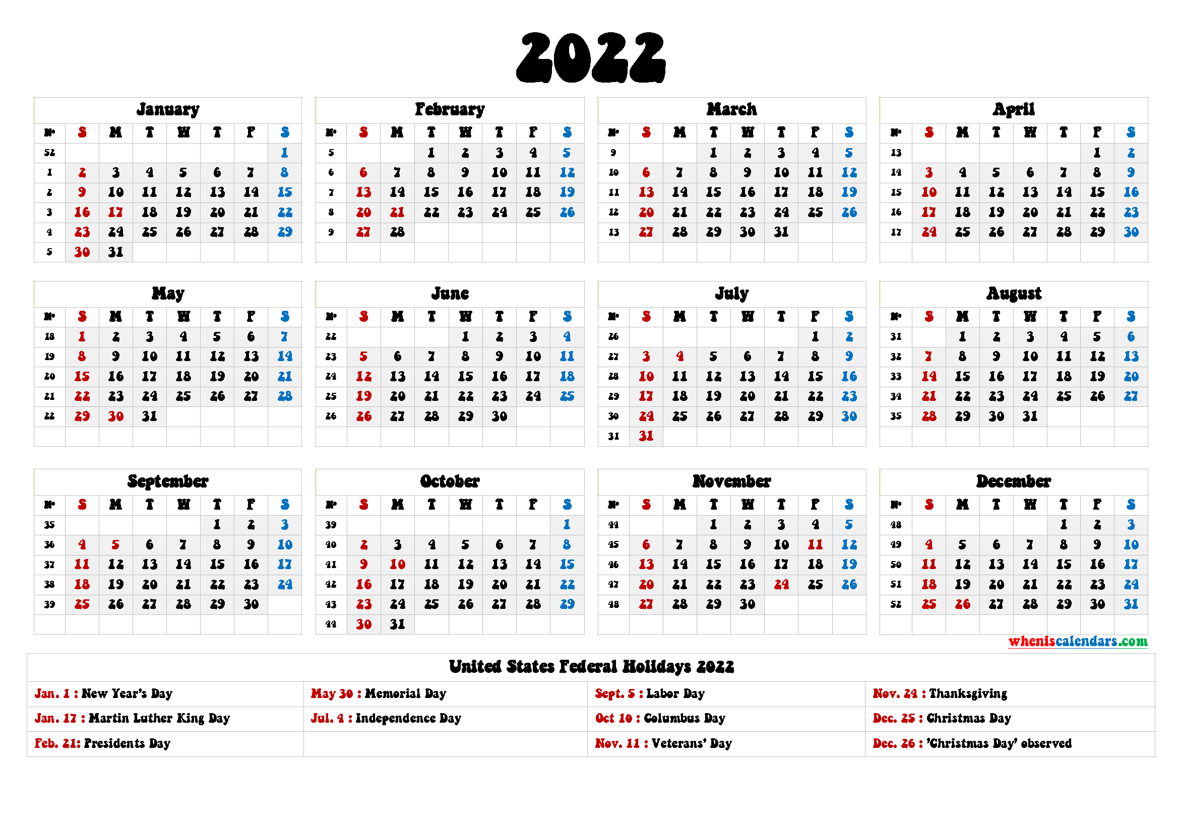 20+ 2022 Holidays - Free Download Printable Calendar inside 2022 2022 Monthly Planner Free Printable Graphics