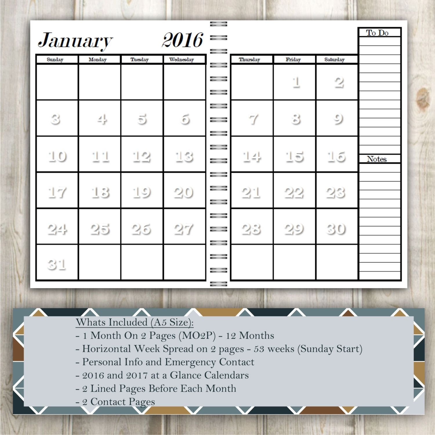 2016 Planner A5 Size - Month On 2 Pages (Mo2P) - Weekly intended for What Are The Measurements Of An A5 Planner