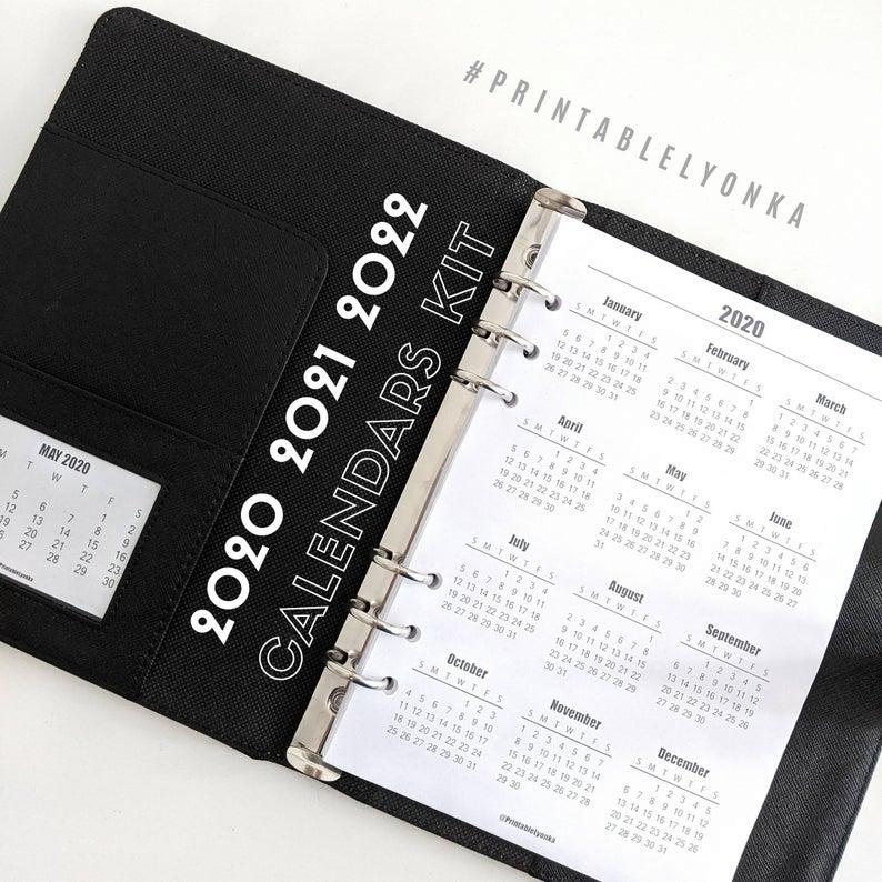 2020 2021 2022 Yearly Calendar Printable/ Pdf/ A3 A4 A5 with regard to 2022 Planner Printable A5 Diy