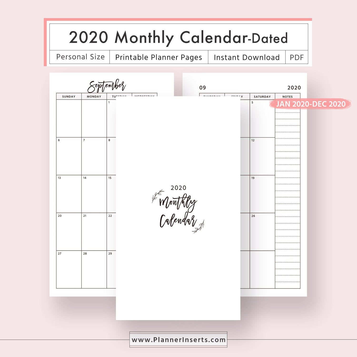 2020 Dated Monthly Calendar For Unlimited Instant Download for Free Digital Planner Pdf Dowload