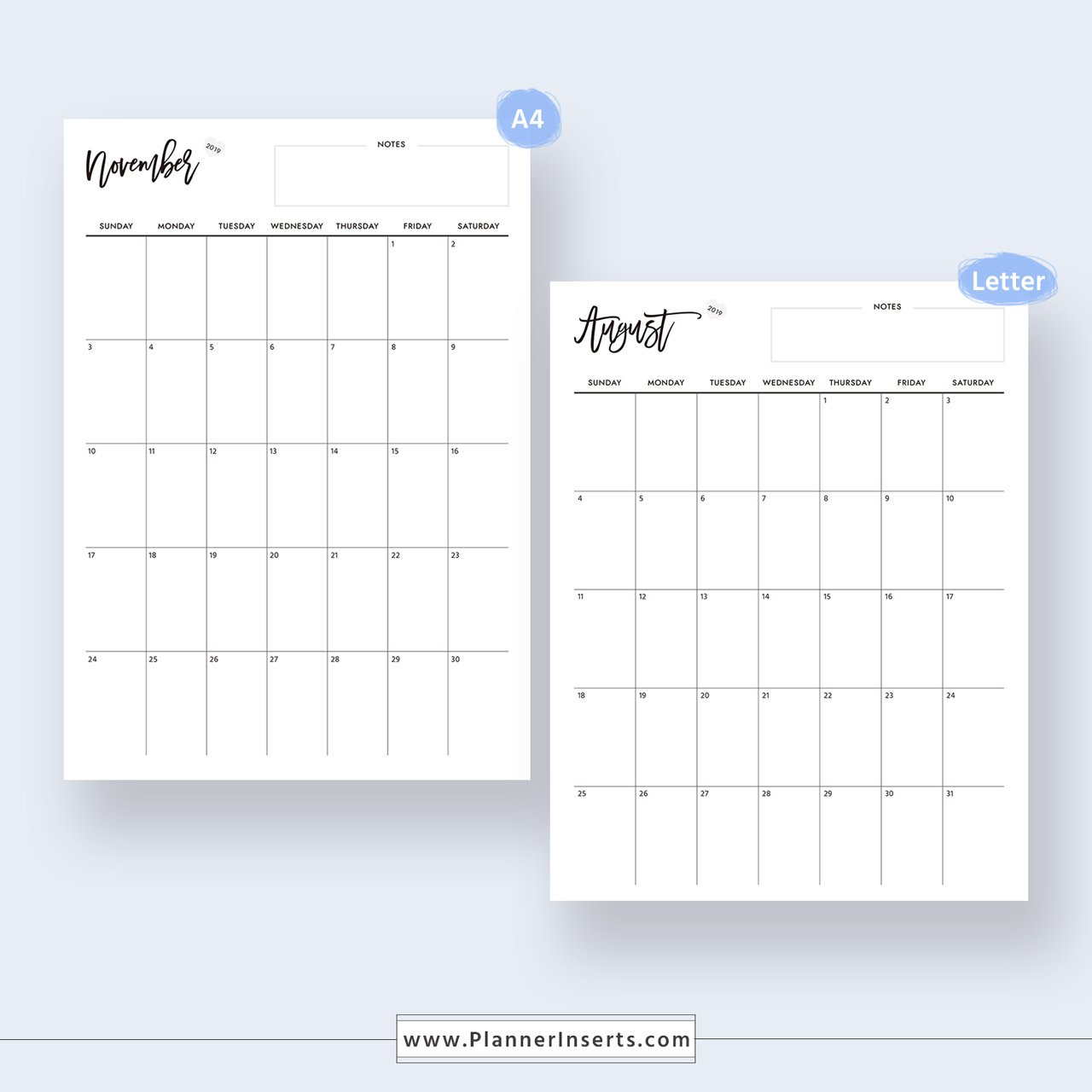 2020 Dated Monthly Calendar For Unlimited Instant Download with Free Digital Planner Pdf Dowload Graphics